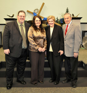 Guest minister Dr. Lemon poses for a photo with his wife Marybell and our Pastors Jeff & Francine Wells